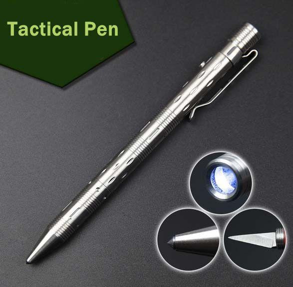Портативный из нержавеющей стали тактическая ручка со светодиодной подсветкой открытый многофункциональный самообороны поставки EDC инстр...