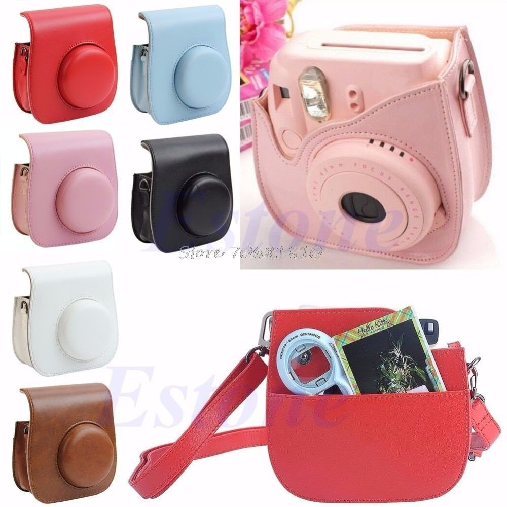 Leather Camera Shoulder Strap Bag Protect Case Pouch For Fujifilm Instax Mini 8 R179T Drop shipping