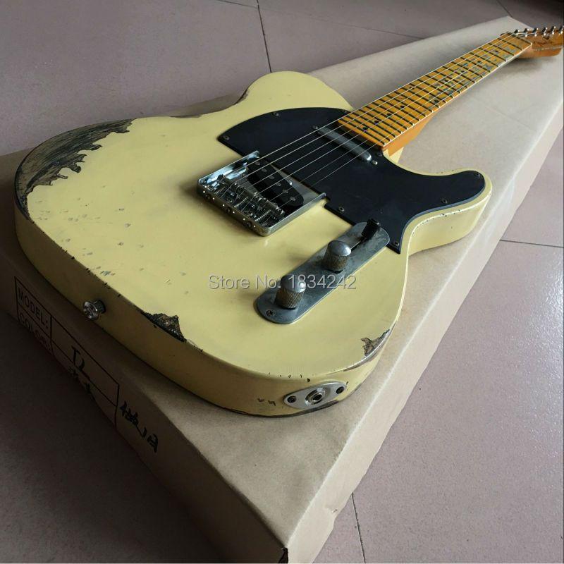 Custom Shop, klassische Tele e-gitarre reliquien durch hände. unterstützung anpassung. neue Stil handarbeit RELIC TL e-gitarre