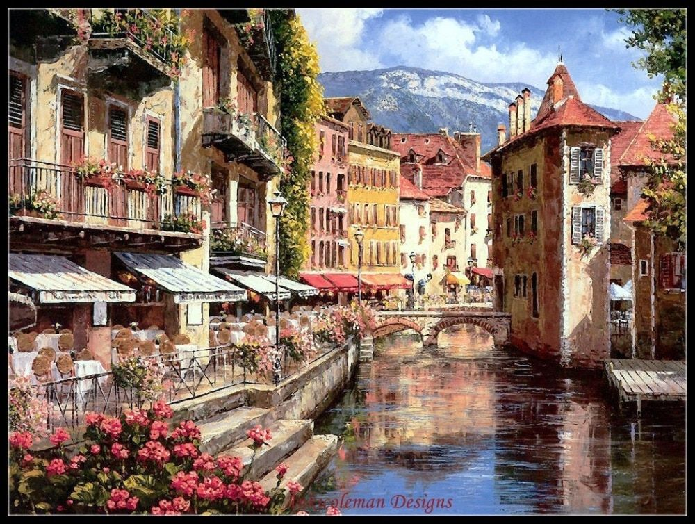 Afternoon in Annecy - Counted Cross Stitch Kits - DIY Handmade Needlework for Embroidery 14 ct Cross Stitch Sets DMC Color