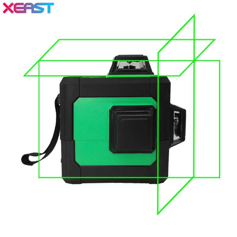 XEAST 12 lines 3D Green Laser Levels Self Leveling 360 Horizontal an Vertical Cross Super Powerful Green Laser Beam Line