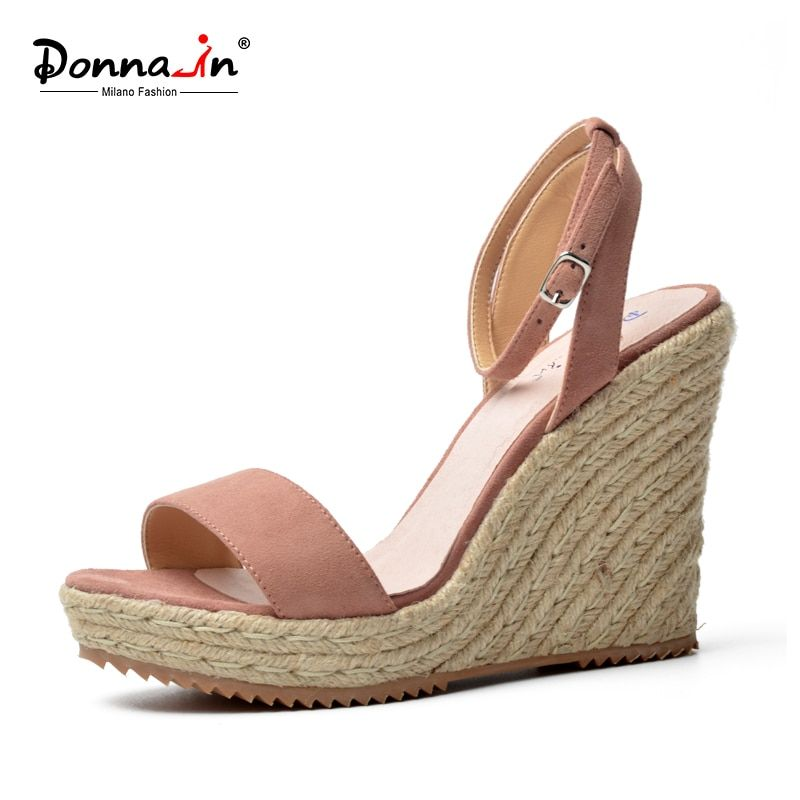 Donna-in 2018 Summer Platform Sandals Wedge Women Genuine Leather High Heels Open Toe Ladies Shoes Brand Fashion Black Pink Blue