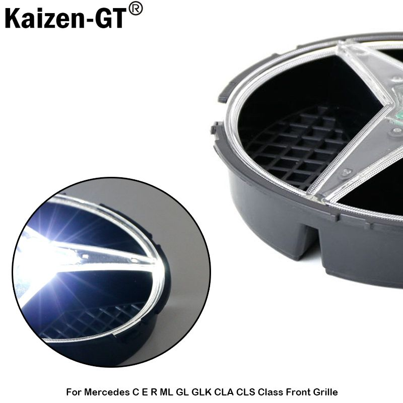 Kaizen-GT 6500K Xenon White LED Illuminated Base Only For Mercedes C E R ML GL GLK CLA CLS Class Front Grille