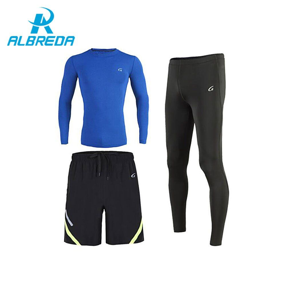 ALBREDA Quick Dry Compression Mens Sport Suit Fitness Running sets 3pcs Gym Clothing Workout Jersey Joggers Training Tracksuits
