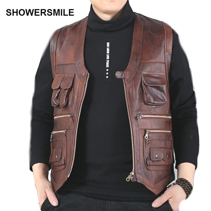 Showersourire marque véritable vache en cuir gilet hommes photographie gilet avec beaucoup de poches marron moto veste homme gilet
