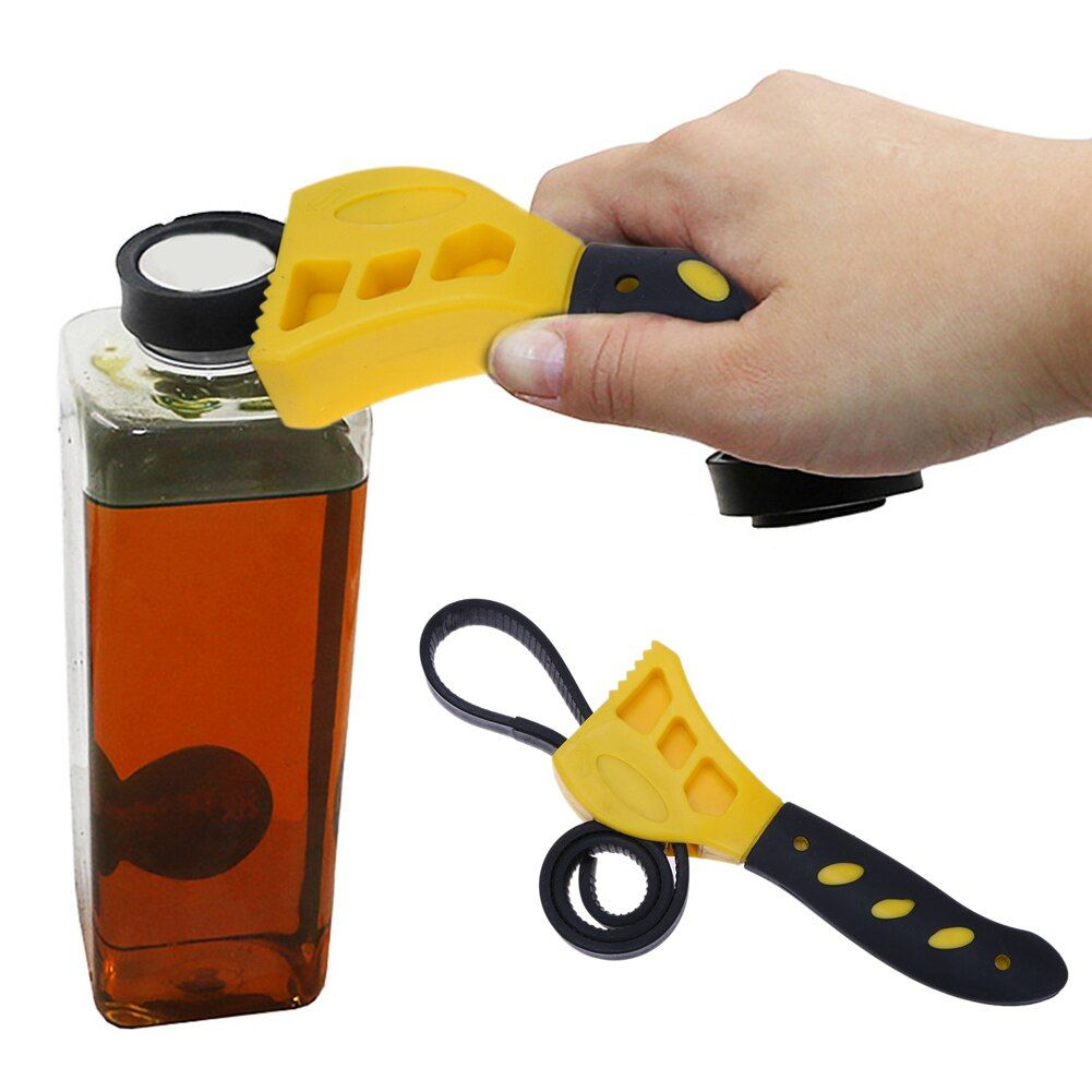 2pcs/set Adjustable Rubber Strap Spanner Wrench Universal Bottle Caps Opener Any Shape Bottle Opening Tool Car Repair Tools