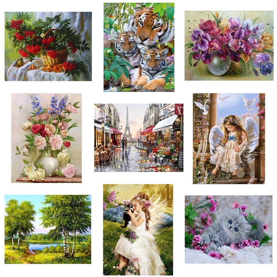22 pattern 3d diy Diamond painting Cross Stitch kit Diamond Embroidery home decor flower animal landscape mosaic picture 30X40CM
