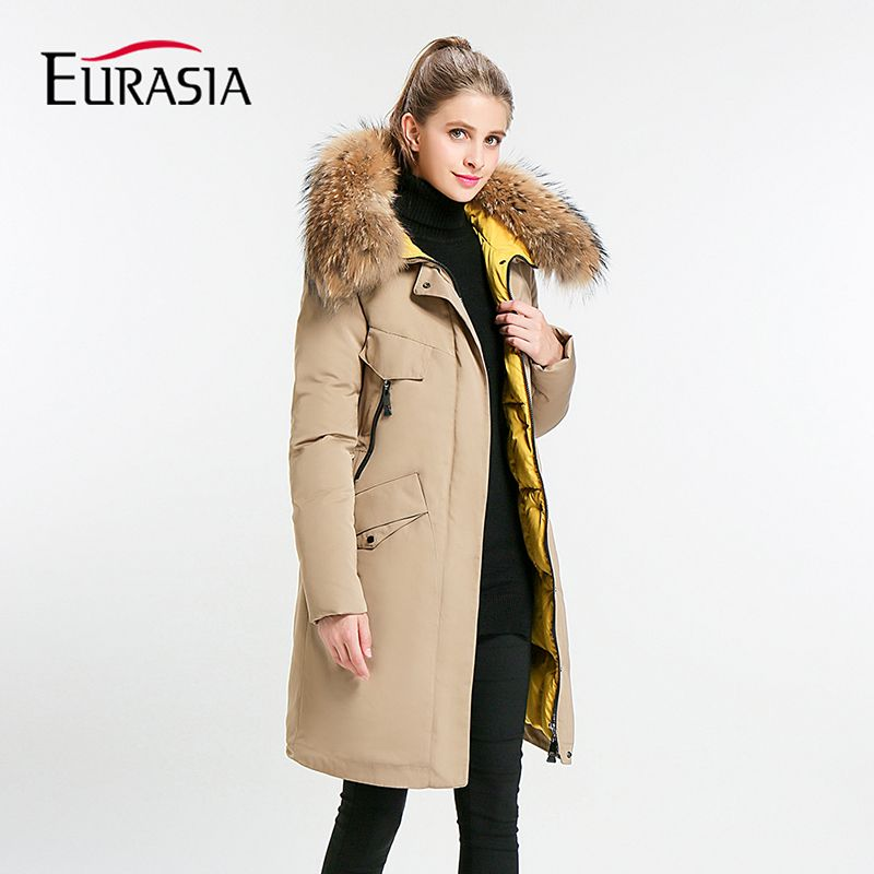 Eurasia New Full Solid 2017 Women's Mid-long Winter Jacket Stand Collar Hood Design Oversize Real fur Thick Coat Parka Y170027