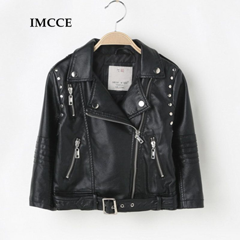 Autumn Spring Leather Jacket for Girls,Boys Leather Jacket,Advanced PU Imitation Leather Coat,Trim Fit Style clothing (3-12Yrs)