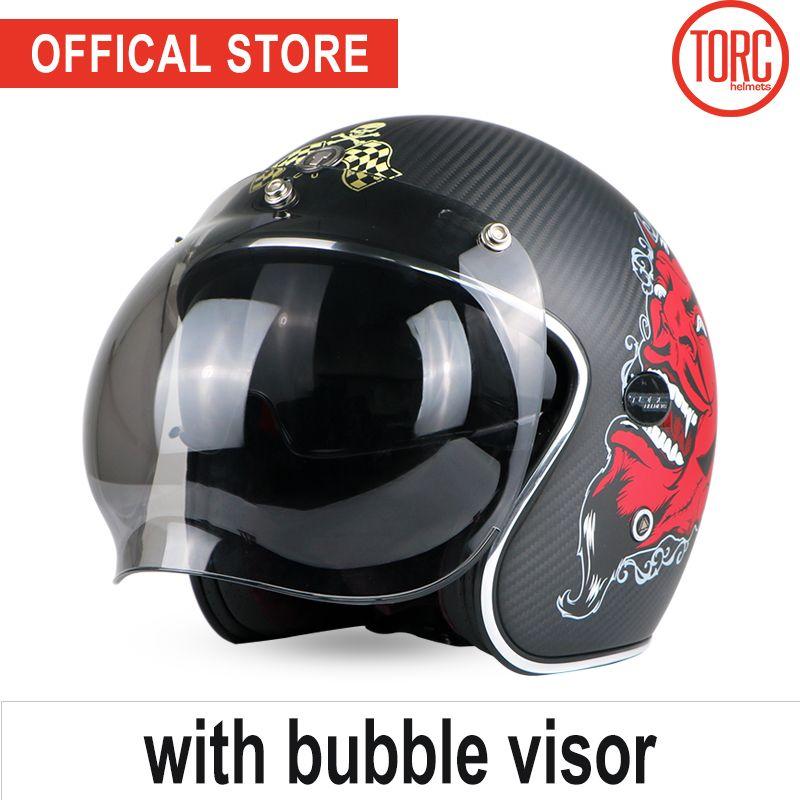 TORC carbon fiber motorcycle helmet bubble visor helmet vespa motorbike motocross jet retro harley capacete inner visor moto ECE
