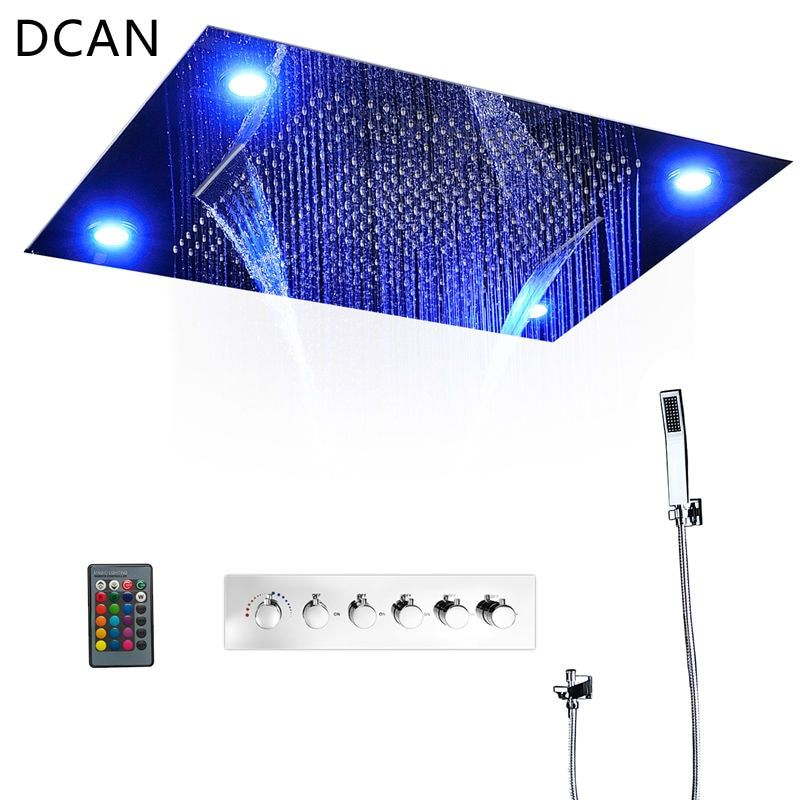 DCAN 5 Functions Intelligent Shower Set Modern Luxury European Style Large SUS304 Waterfall Bathroom Remote Control Led Ceiling