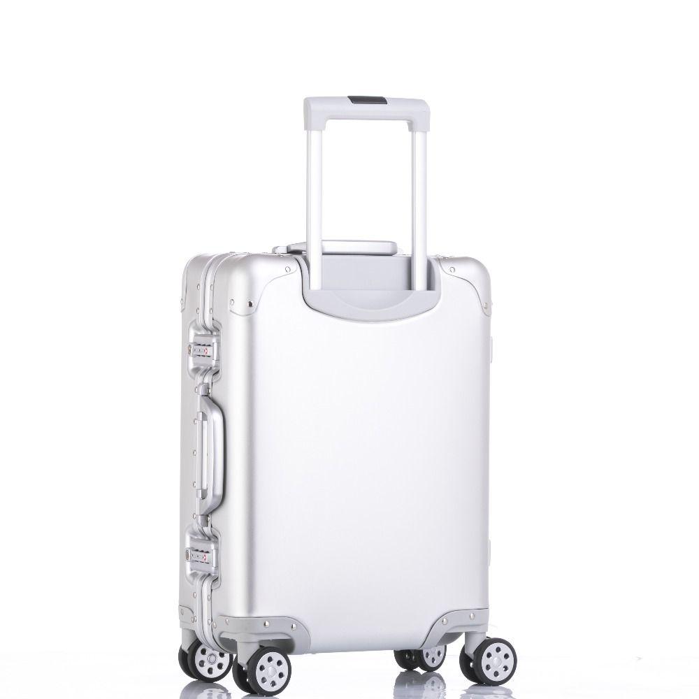 New Aluminum TSA Suitcase mala de viagem Travel Trolley Luggage Spinner Koffer valise walizka valise valigia avec roulettes
