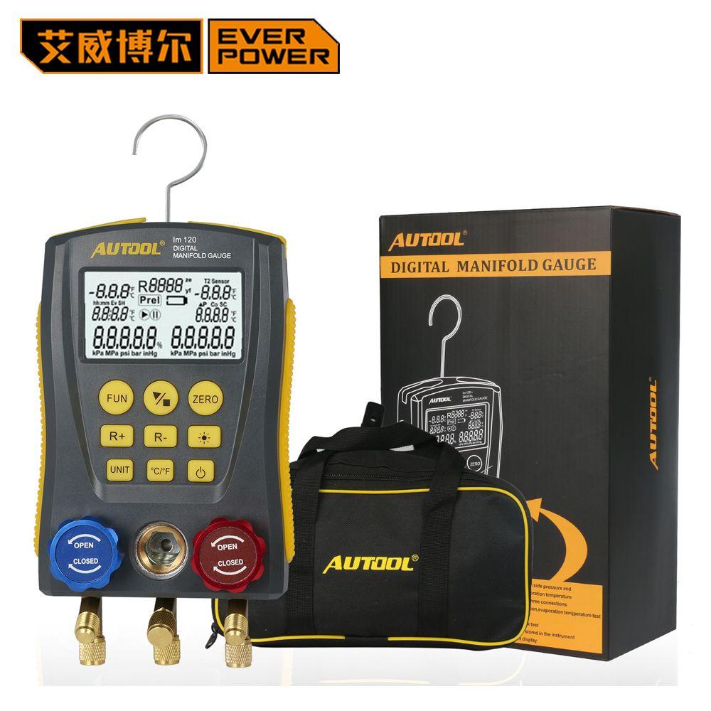 HVAC Digital Refrigeration Manometer Gauge Meter Vacuum Pressure Temperature Tester Kit Test Clip and Pipe DHL Free Shipping