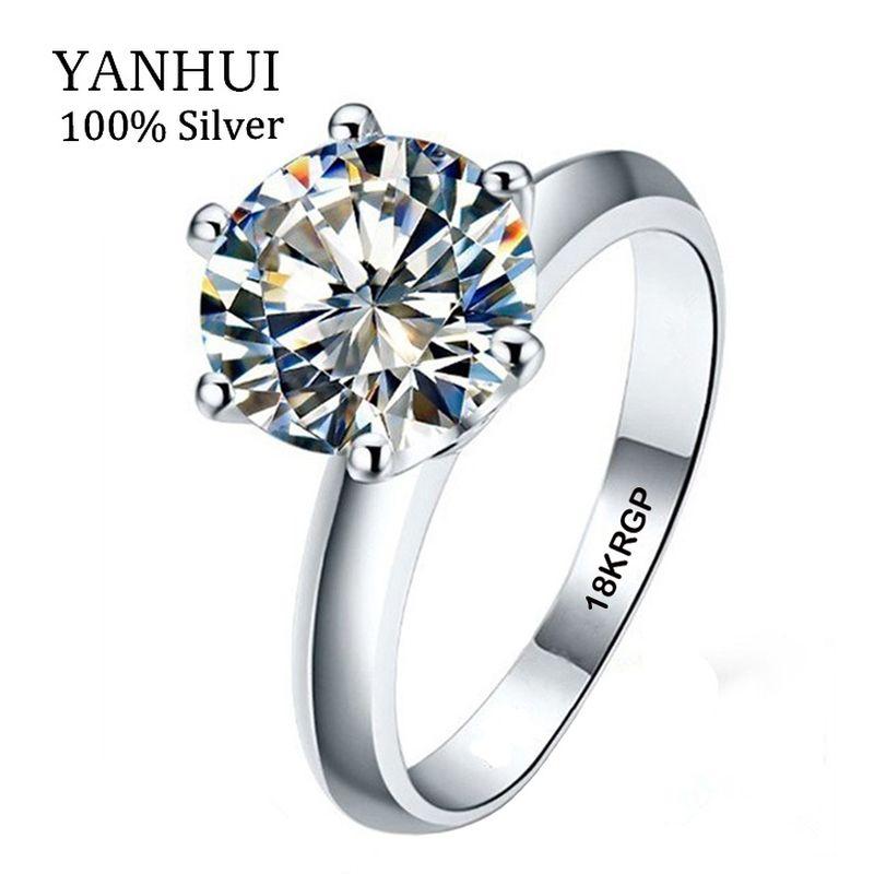 Real 100% Anillo de Oro Blanco 18 18KRGP Sello Anillos Set 3 Quilates CZ Diamant Anillos de boda Para Las Mujeres ANILLO de TAMAÑO 5 6 7 8 9 10 11 YHR168