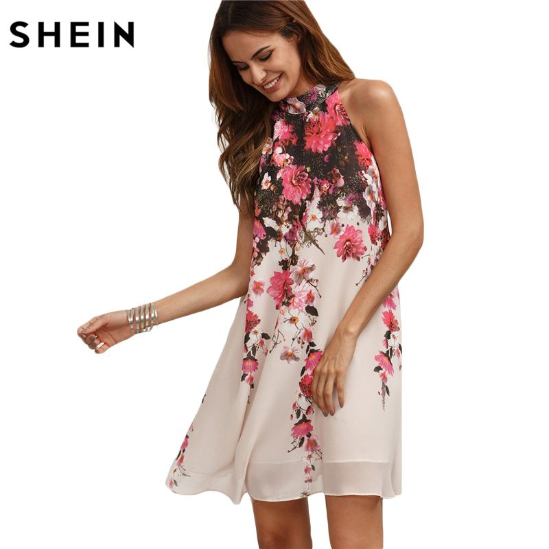 SHEIN Summer Short Dresses Casual New <font><b>Arrival</b></font> Womens Multicolor Round Neck Floral Cut Out Sleeveless Shift Dress