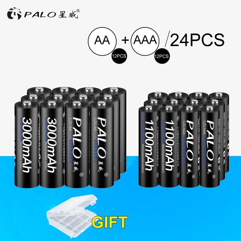 PALO 12Pcs 1.2V 3000mAh AA Batteries AA Rechargeable Battery+12Pcs 1100mAh AAA Batteries NI-MH AA/AAA Rechargeable Battery