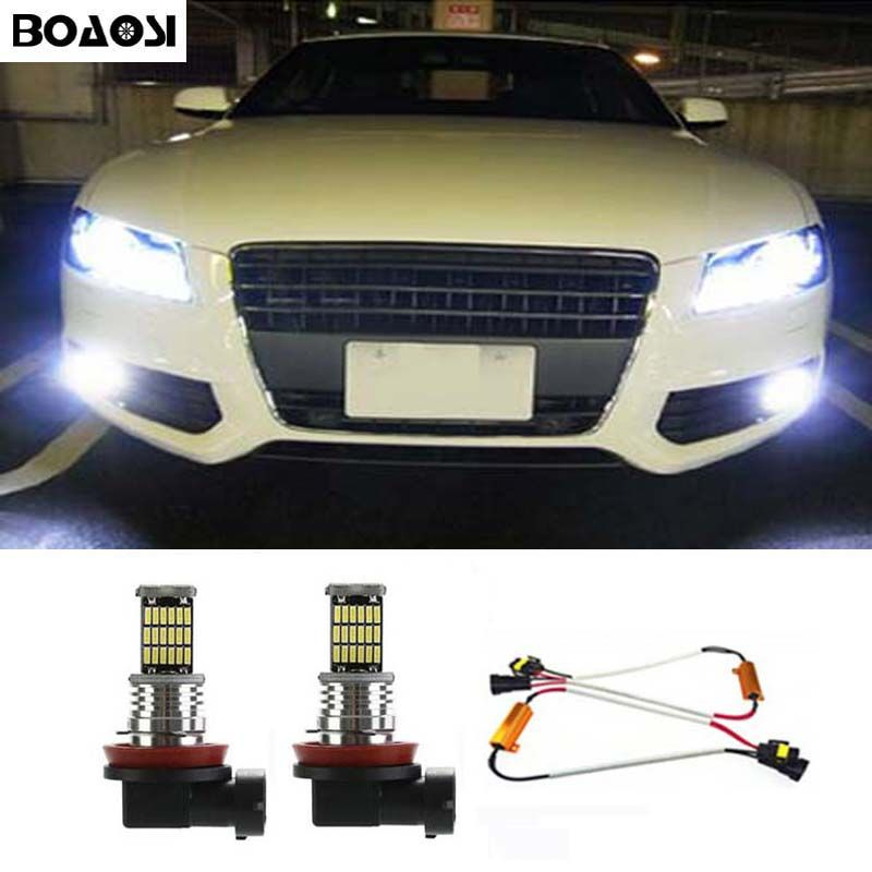 BOAOSI 2x H8 H11 Samsung 4014SMD LED Nebelscheinwerfer Driving Lampe + Canbus decoder Fehler Kostenlos für Audi A3 A4 A5 S5 A6 Q5 Q7 TT