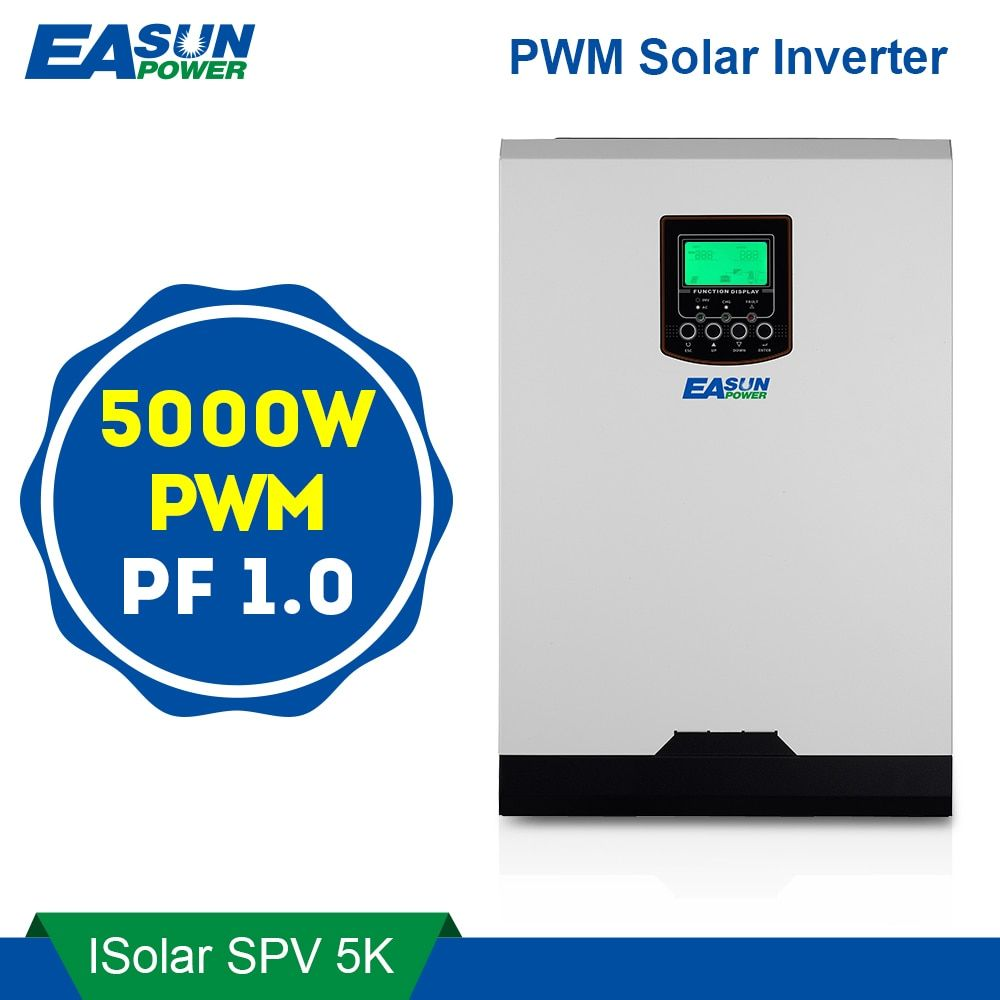 EASUN POWER Solar Inverter 5000W 50A PWM Off Grid Inverter 5Kva Pure Sine Wave Inverter 48V to 220V Inverters 60A AC Charger
