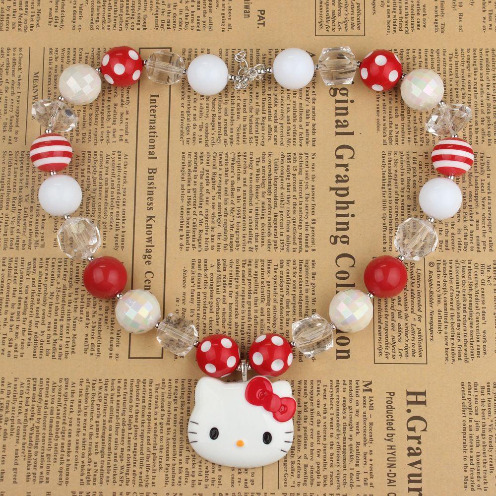 Enfants filles dessin animé Hello Kitty chat pendentif à breloque collier cristal clair enfant en bas âge Chunky perles brin Bubblegum collier bijoux