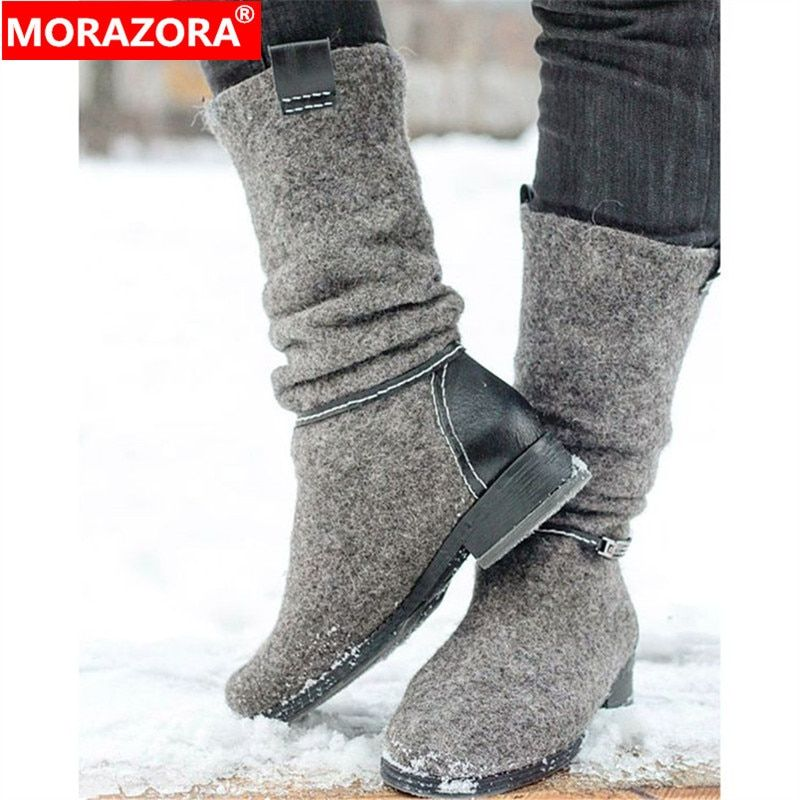 MORAZORA 2020 new arrival ankle boots for women slip on low heels casual shoes autumn winter booties ladies big size 35-47