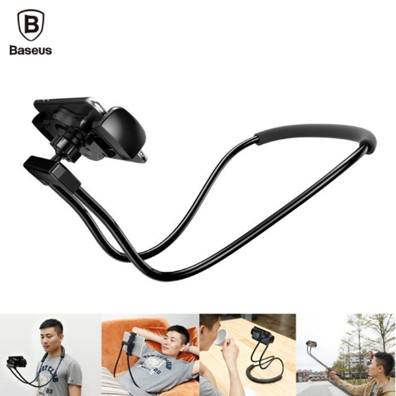 baseus mobile phone holder 360 degree Flexible Lazy stand can neck hanging waist hanging with shcokproof bubble support 4-10inch