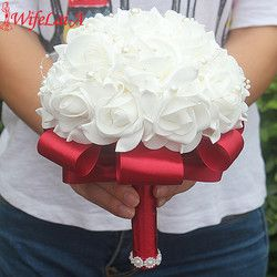 Free Shipping Cheap PE Rose Bridesmaid Wedding Foam flowers Rose Bridal bouquet Ribbon Fake Wedding bouquet de noiva Customized