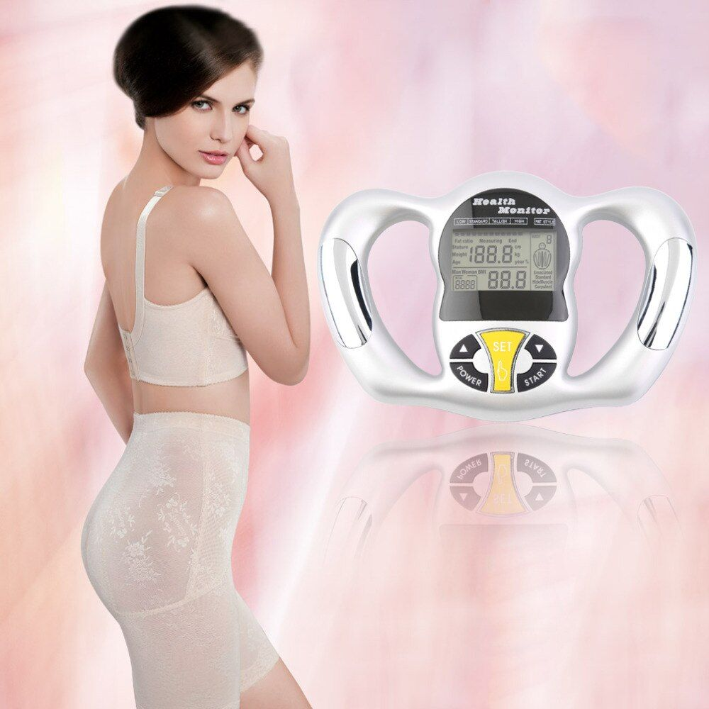 Digital LCD Screen Handheld BMI Tester Body Fat Monitor Health Analyzer Fat Meter Detection Drop shipping top quality