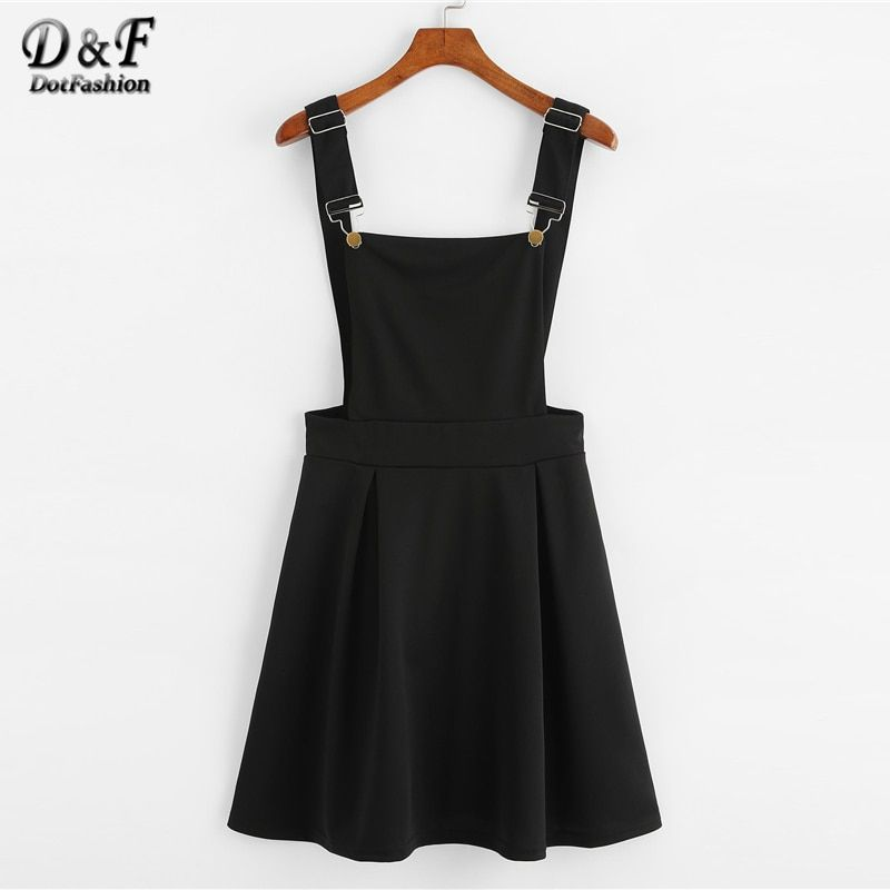 Dotfashion Button Pleated Zip Up Back Pinafore Dress 2019 Spring Fall Straps Sleeveless Dress Women Weekend Casual Short Dress