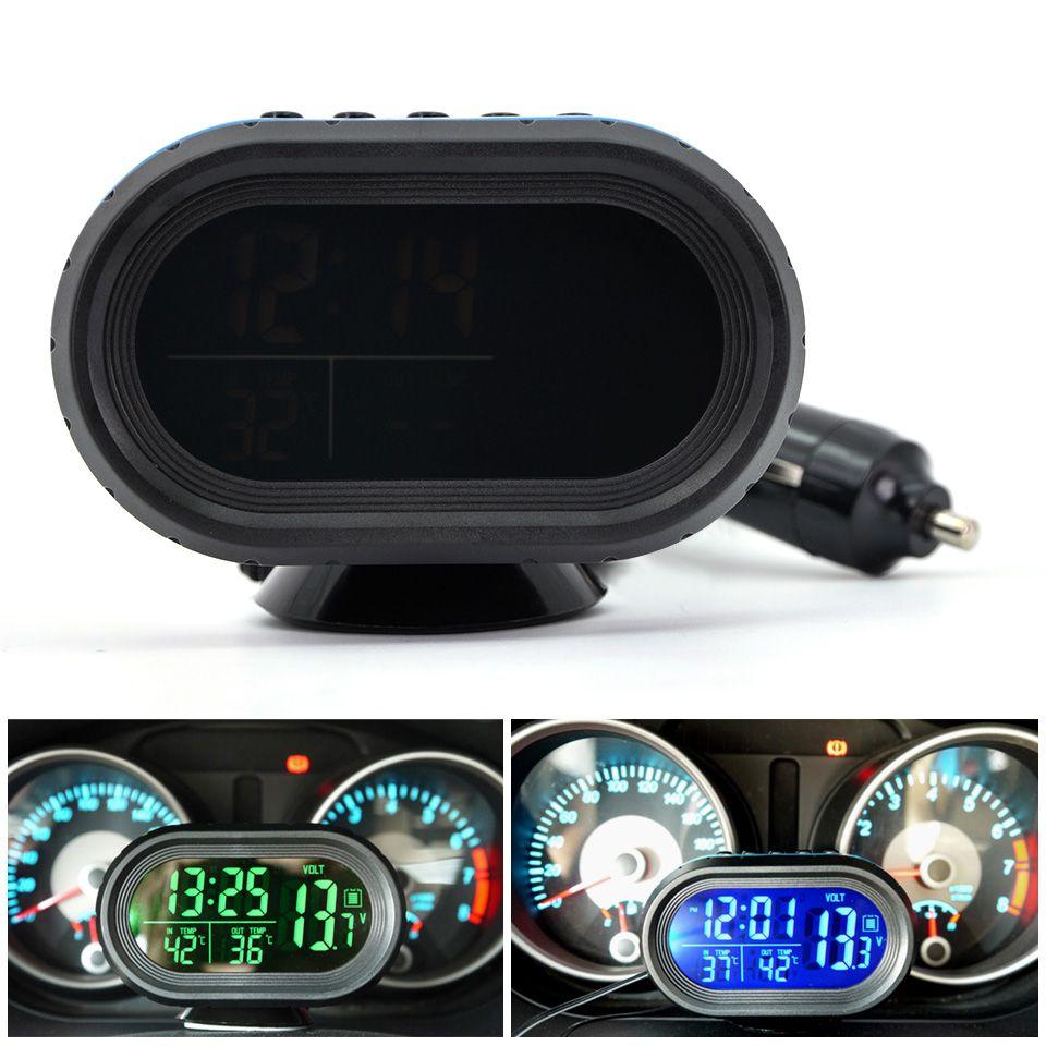 Digital 12V -24V car Thermometer Voltmeter Voltage Detector Battery Temperature exterior and interior alarm clock LCD digital