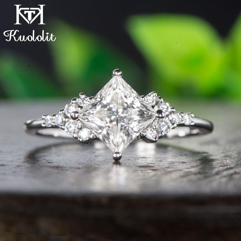 Kuololit 14 K Weiß Gold Moissanite Ringe für Frauen Lab Grown Platz Cut Wunderschönen Diamant Hochzeit Edlen Schmuck