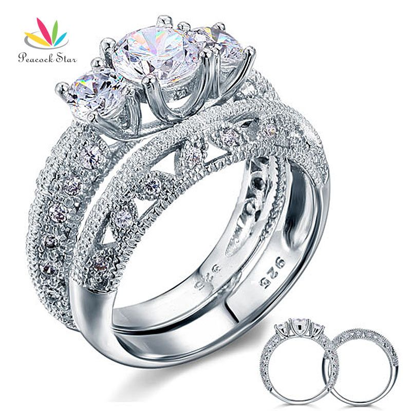 Peacock Star Vintage Style Victorian Art Deco 2-Pcs Wedding Ring Set 1 Ct Solid Sterling 925 Silver CFR8100