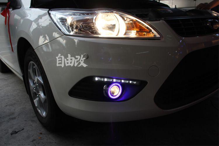 eOsuns COB Angel eye + LED daytime running light DRL + Fog Lamp with Projector Lens for ford focus 2 sedan 2009-11, coupe 2008