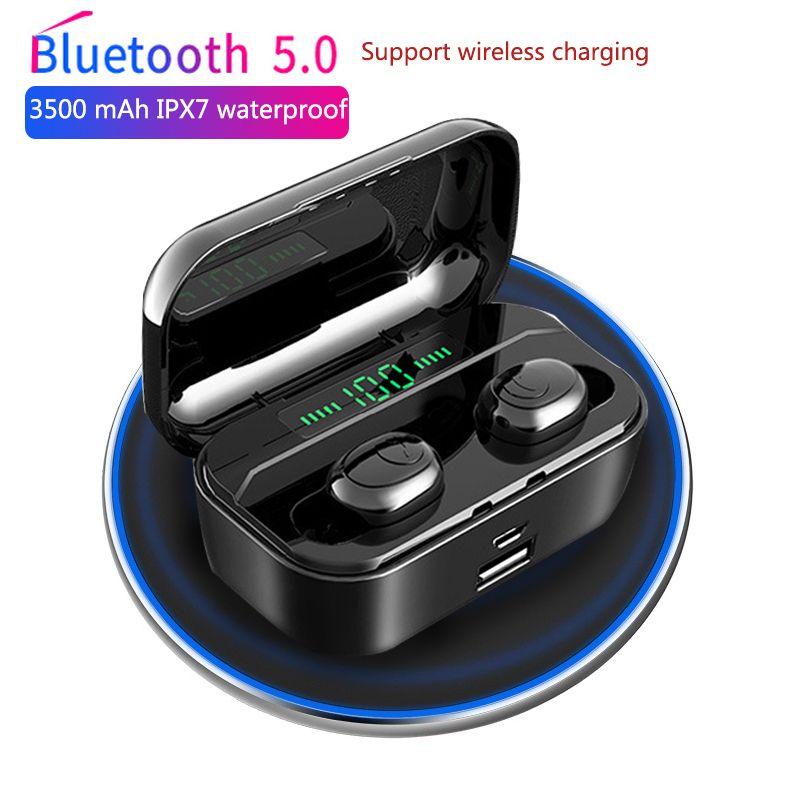 3500 mAh TWS sans fil écouteur Bluetooth 5.0 écouteurs alimentation LED affichage CVC8.0 DSP réduction de bruit Sport casque batterie externe