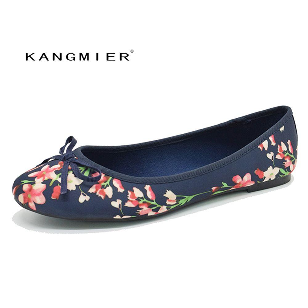 Женская обувь балетки на плоской подошве темно-принтованного атласа с круглым носком и бабочкой kangmier