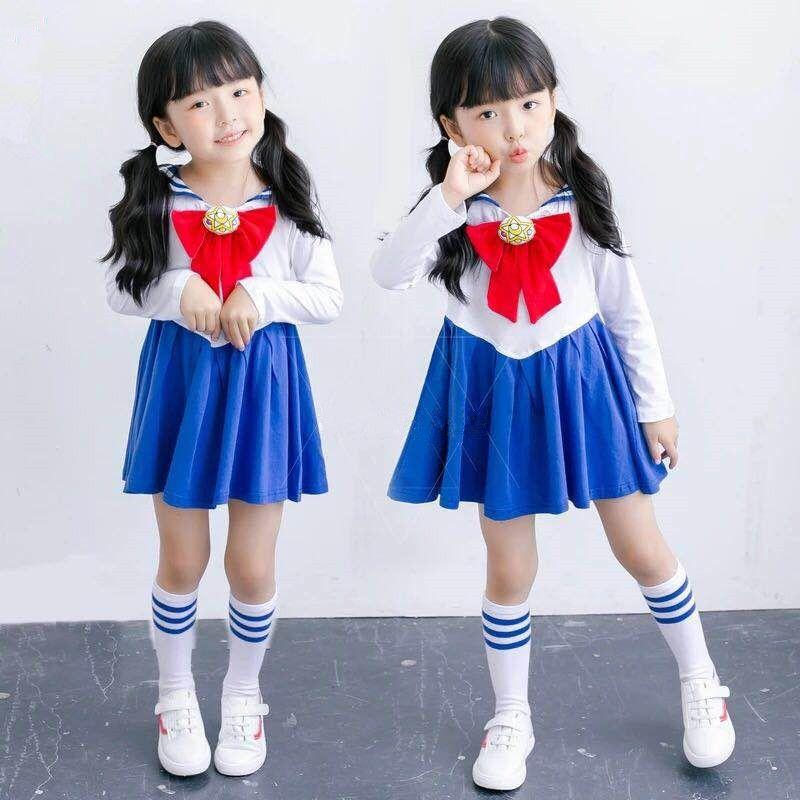 École enfants bébé fille marin lune imprimé robe avec Bowknot Kawaii mignon enfants marine col bande dessinée fête plissée robes 1-7Y