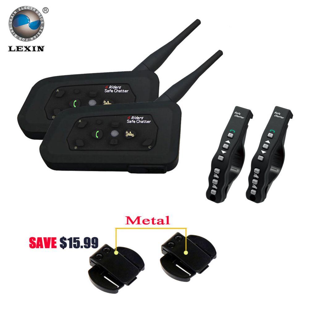 2 pcs Lexin A4 Motorcycle Bluetooth Helmet Intercom Headset for 4 Riders Interphone support Remote Control BT Wireless intercom
