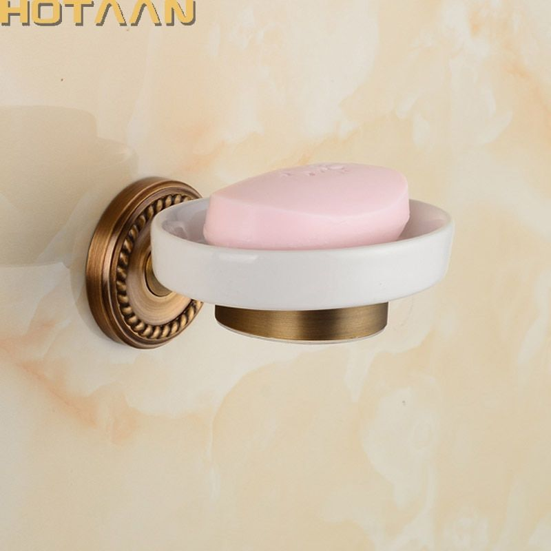 Бесплатная Доставка Мода античная латунь мыльница, чистая медь ванная комната мыло корзины, керамическое блюдо, аксессуары для ванной комн...