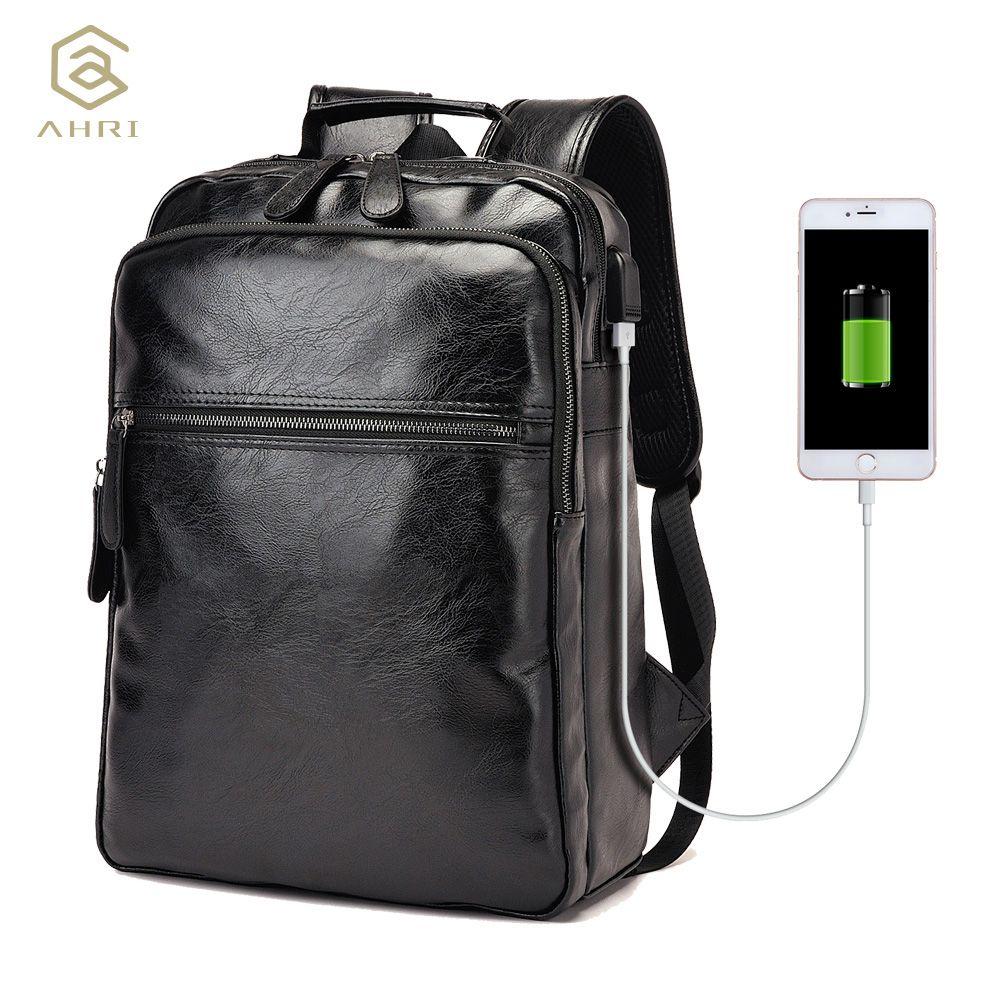 AHRI Men Business Casual Backpacks for School Travel Bag Black PU Leather Men's Fashion Shoulder Bags Vintage Boys Men Backpack
