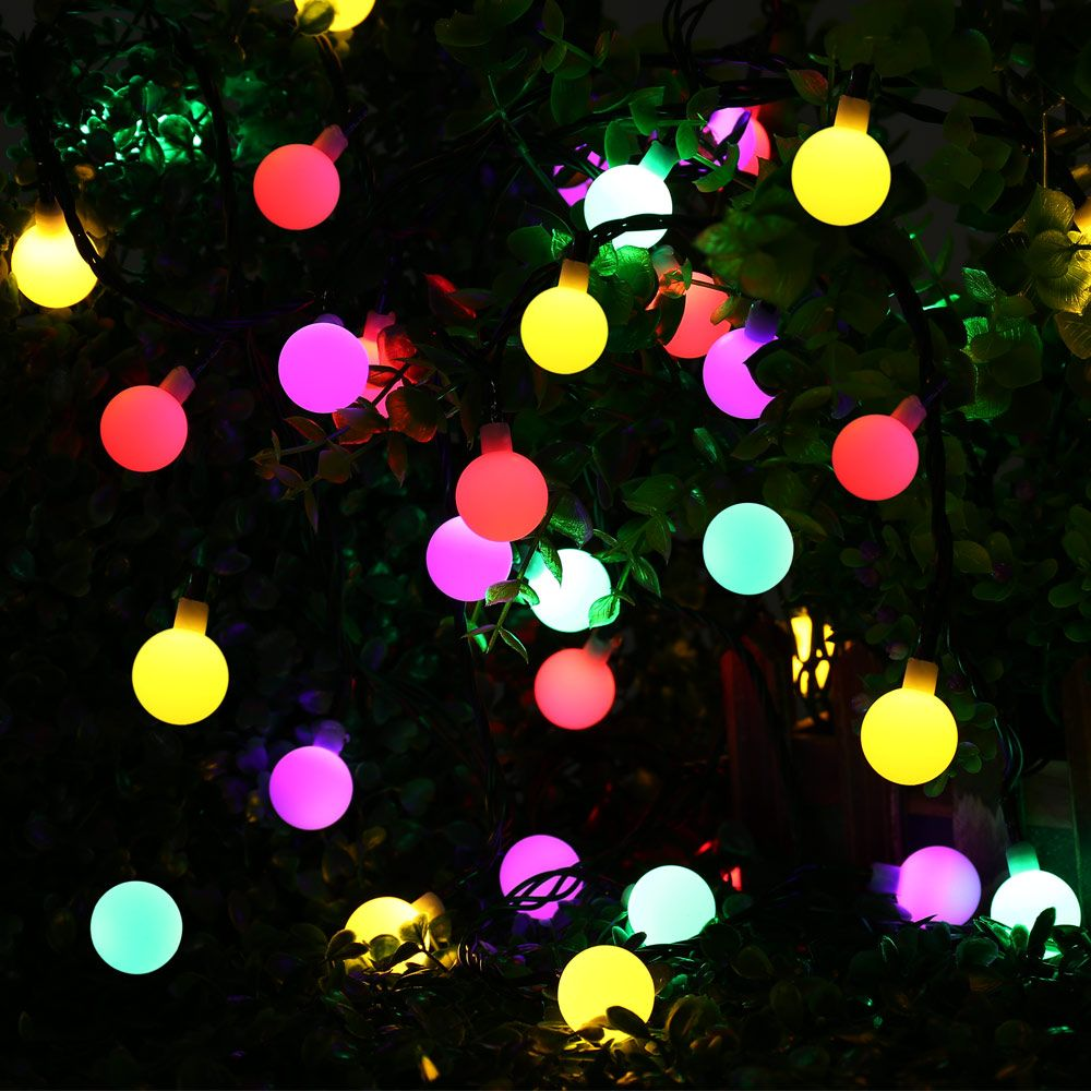 Globe Solar Powered Christmas Lights 21ft 50LED Multi Color Ball String Lights Decorative Lights for Indoor/Outdoor,Garden,Party