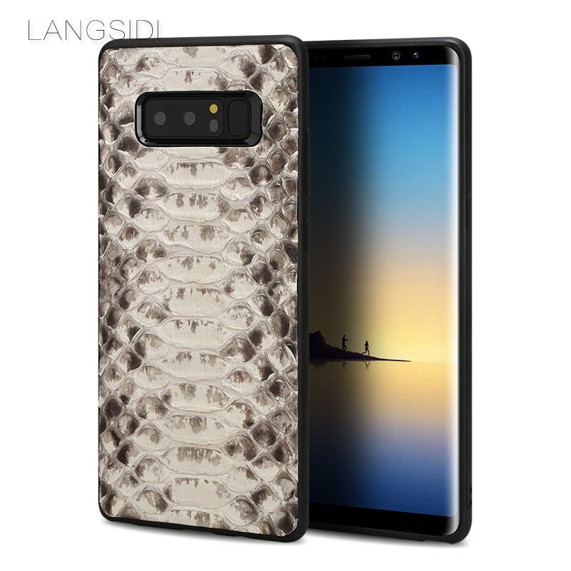 LANGSIDI brand cell phone case natural python skin cover phone case For Samsung Note 8 cell phone cover all handmade custom