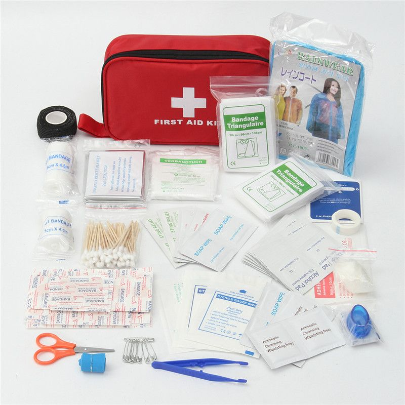 Safurance 180pcs/pack Safe Outdoor Wilderness Survival Travel First Aid Kit Camping Hiking Medical Emergency Treatment Pack Set