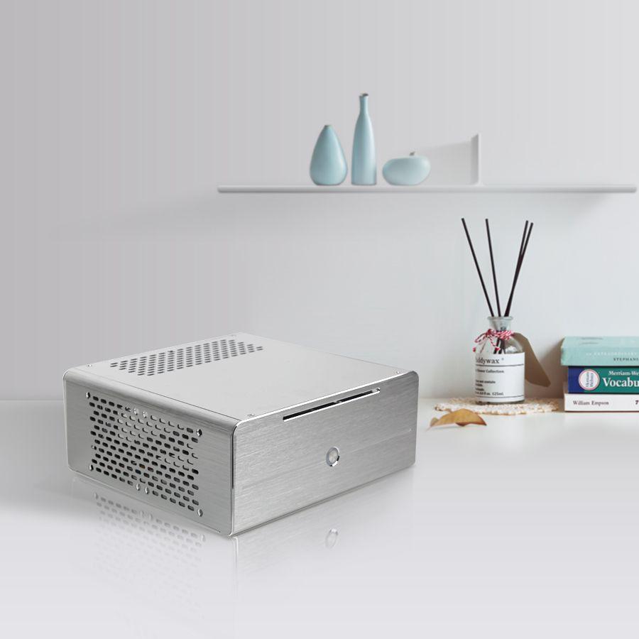 Realan industriel haute qualité oem mini htpc cas E-i7 avec CD-ROM slots d'extension d'alimentation de bureau en aluminium noir argent