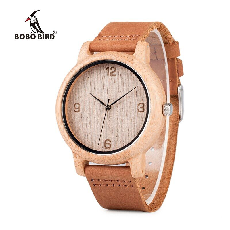 BOBO BIRD relogio masculino <font><b>Antique</b></font> Bamboo Watches for Men and Women With Leather Strap Wood Wristwatch Top Brand Drop Shipping