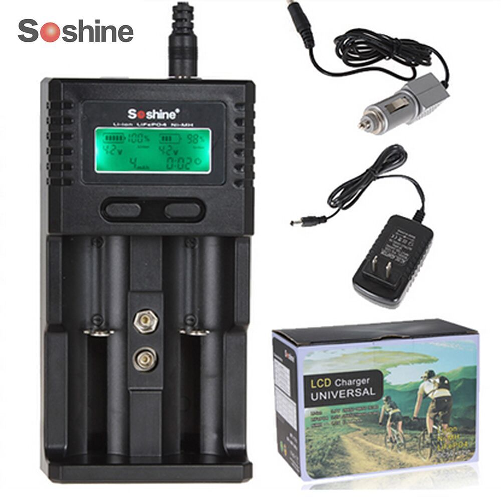 Soshine 2 Canaux Indépendants LCD Intelligent Chargeur pour Li-ion LiFePO4 Ni-MH 26650 18650 14500 21700 16340 AA AAA batterie