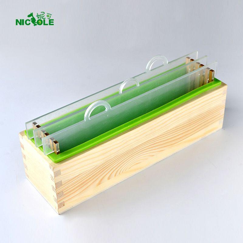Nicole Silicone rendre savon moule ensemble Rectangle pain moule avec boîte en bois et Transparent Vertical acrylique clins bricolage à la main