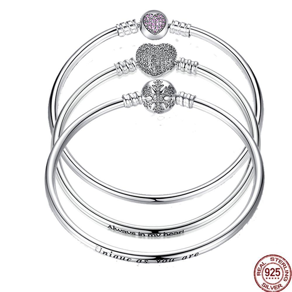 WOSTU Authentic 925 Sterling Silver Engrave Snowflake Clasp Unique as you are Chain Bracelet & Bangle Fit DIY Jewelry