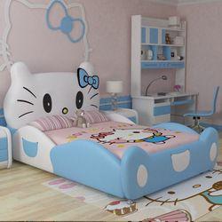 2017 new design modren design hello kitty pink leather children bedroom for girls