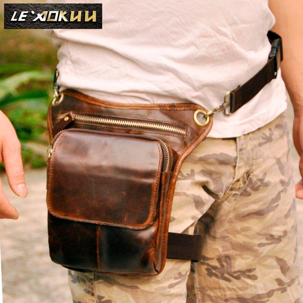 Echtes Leder Männer Design Casual Messenger Schultertasche Mode Multifunktions Taille Gürteltasche Drop Bein Tasche 211-1c