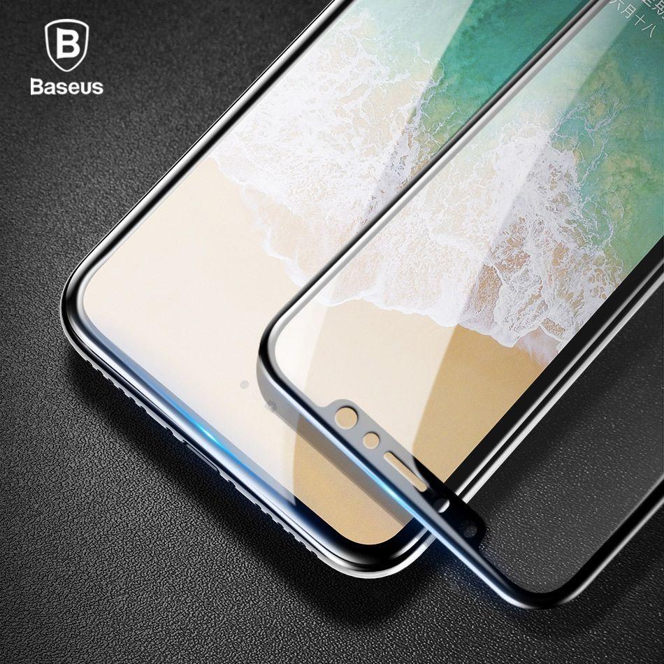 Baseus 0.2mm En Verre Trempé Pour iPhone X Écran Protecteur Complet couverture Ultra Mince Verre Anti-rayures Pour iPhone X Avant Film