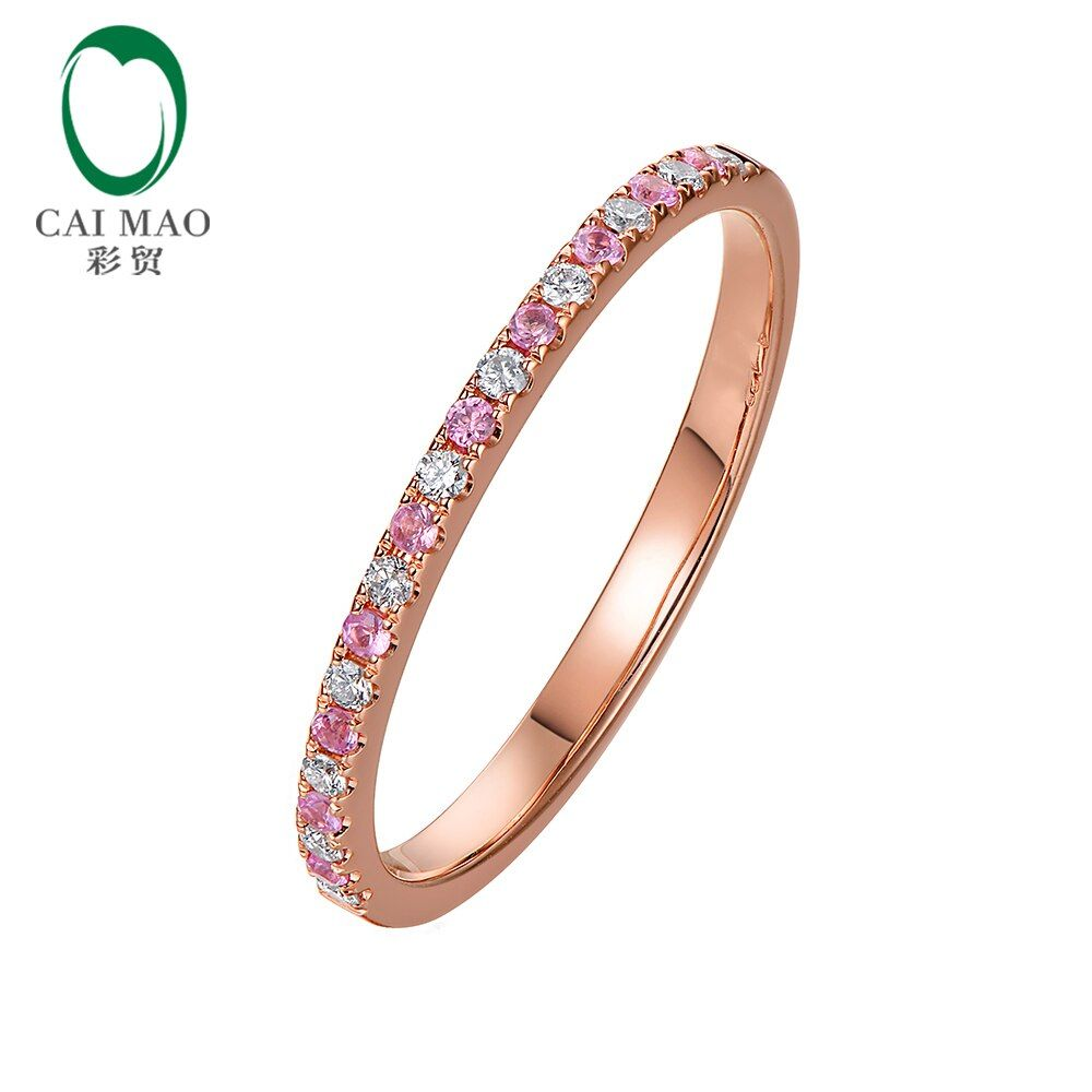 Caimao Half Eternity 14K Rose Gold Natural Diamond Pink Sapphire Engagement Wedding Band